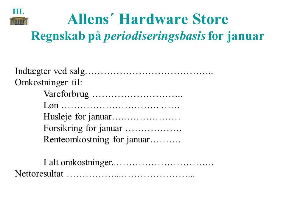 Allens´ Hardware Store Regnskab på periodiseringsbasis for januar