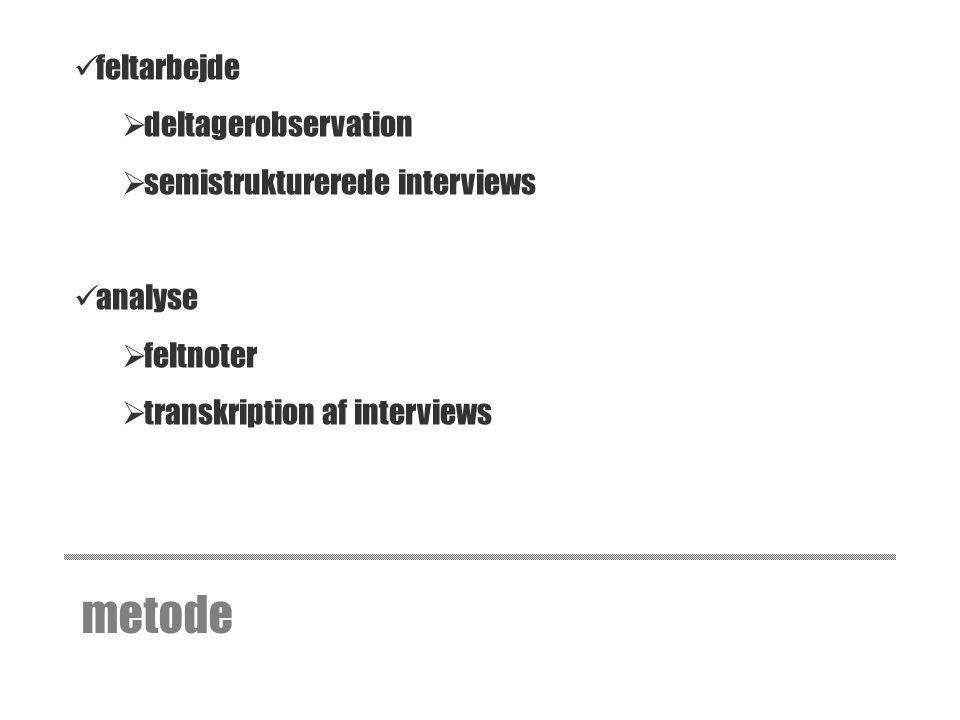 metode feltarbejde deltagerobservation semistrukturerede interviews