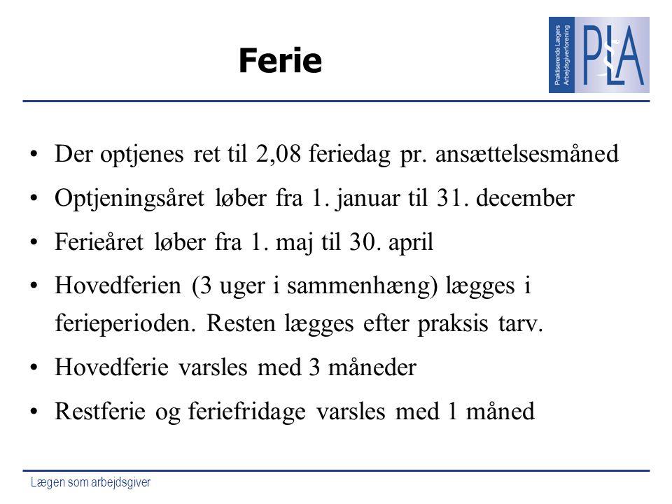 Ferie Der optjenes ret til 2,08 feriedag pr. ansættelsesmåned