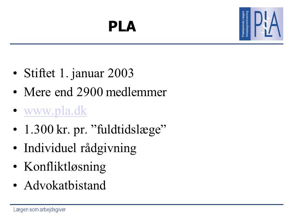 PLA Stiftet 1. januar 2003 Mere end 2900 medlemmer www.pla.dk