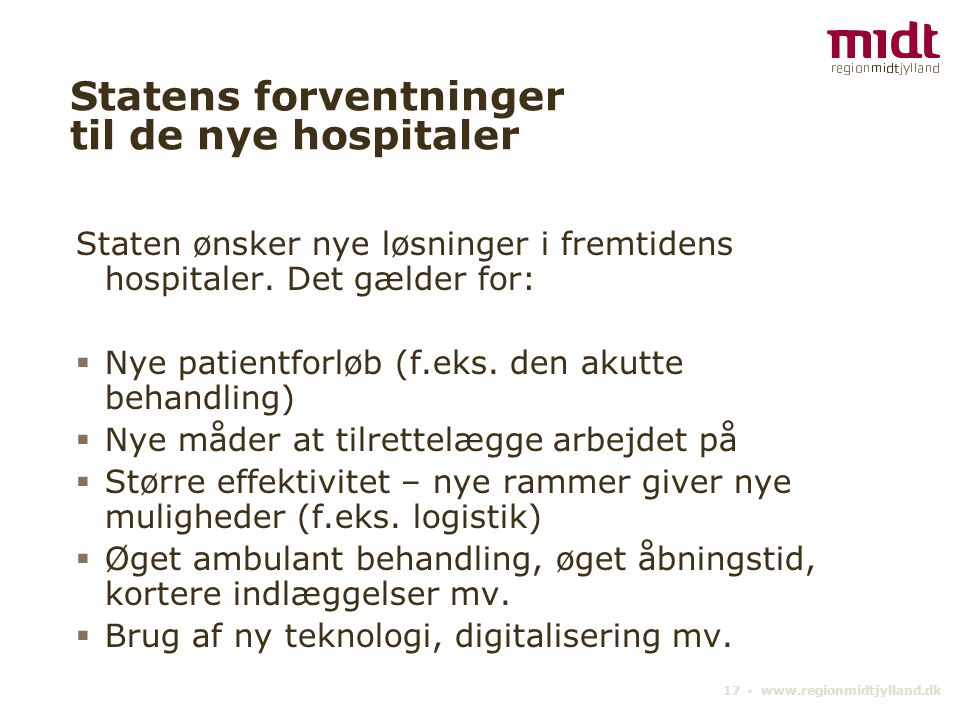 Statens forventninger til de nye hospitaler