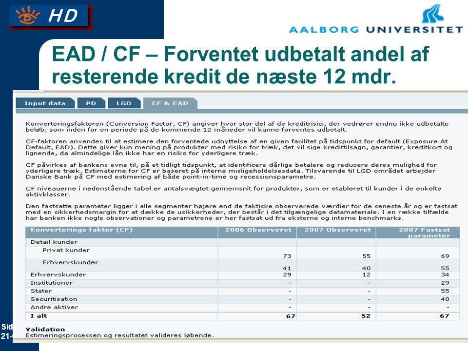 EAD / CF – Forventet udbetalt andel af resterende kredit de næste 12 mdr.
