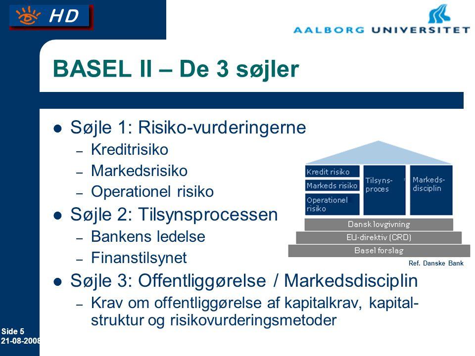 BASEL II – De 3 søjler Søjle 1: Risiko-vurderingerne