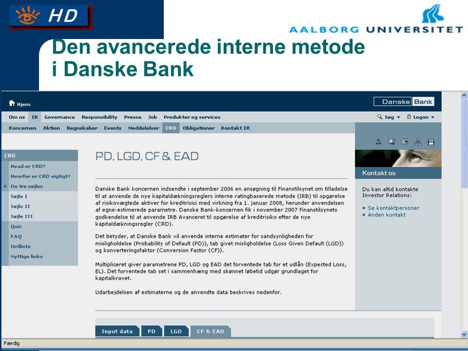 Den avancerede interne metode i Danske Bank