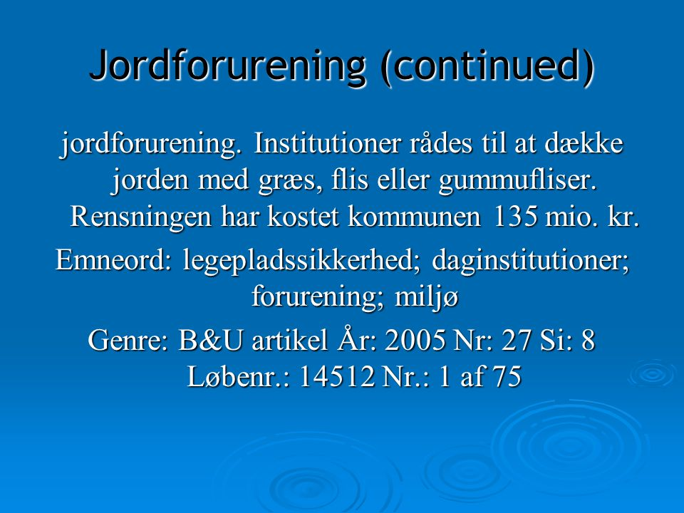 Jordforurening (continued)