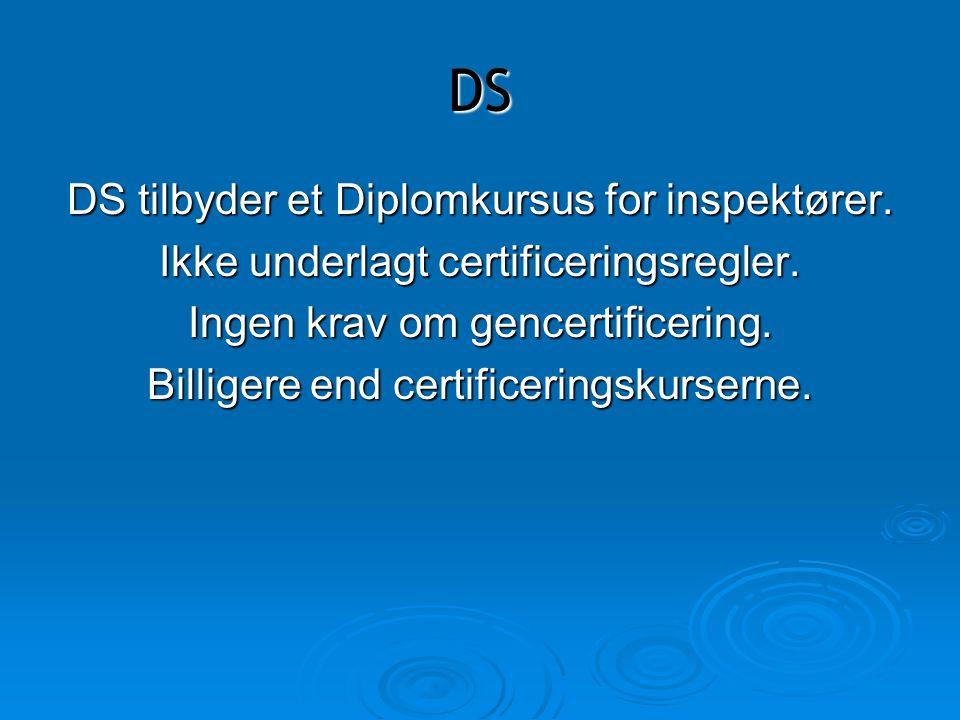 DS DS tilbyder et Diplomkursus for inspektører.