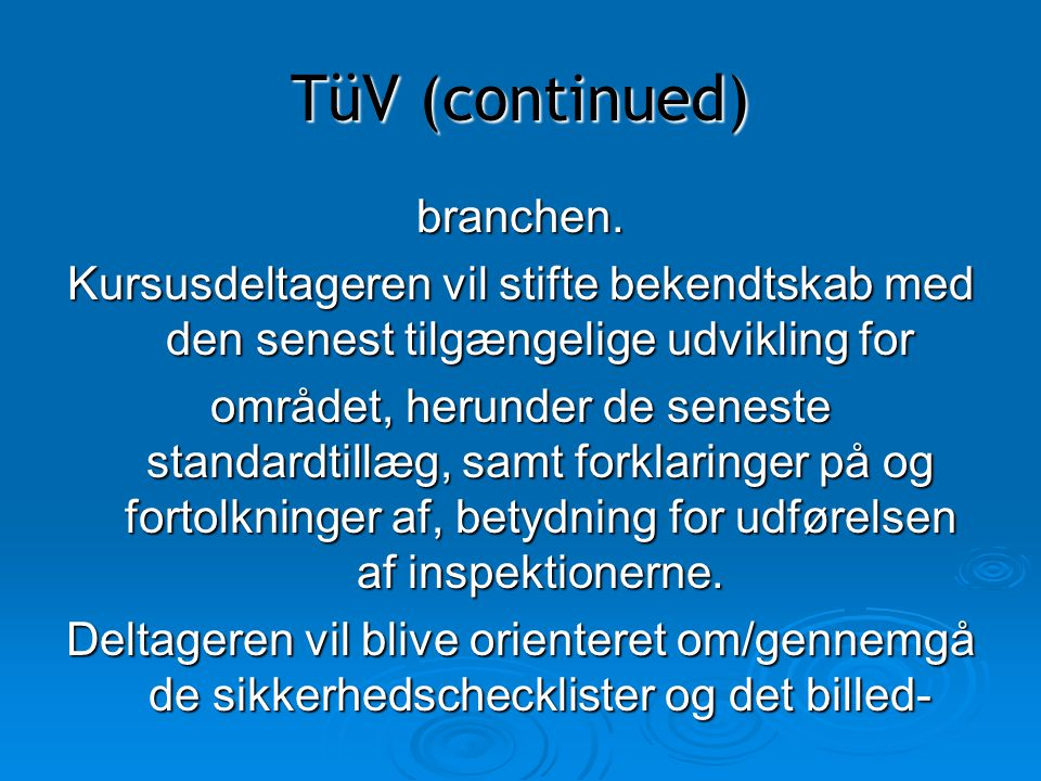 TüV (continued) branchen.