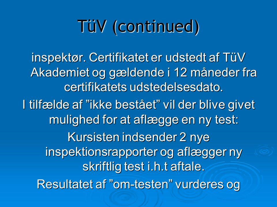 Resultatet af om-testen vurderes og