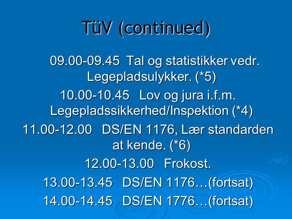 TüV (continued) 09.00-09.45 Tal og statistikker vedr. Legepladsulykker. (*5)