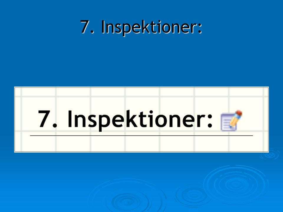 7. Inspektioner: 7. Inspektioner: