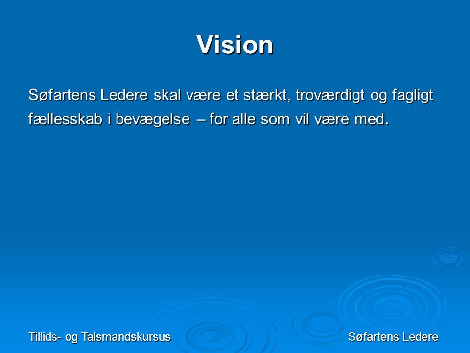 Vision Søfartens Ledere skal være et stærkt, troværdigt og fagligt fællesskab i bevægelse – for alle som vil være med.