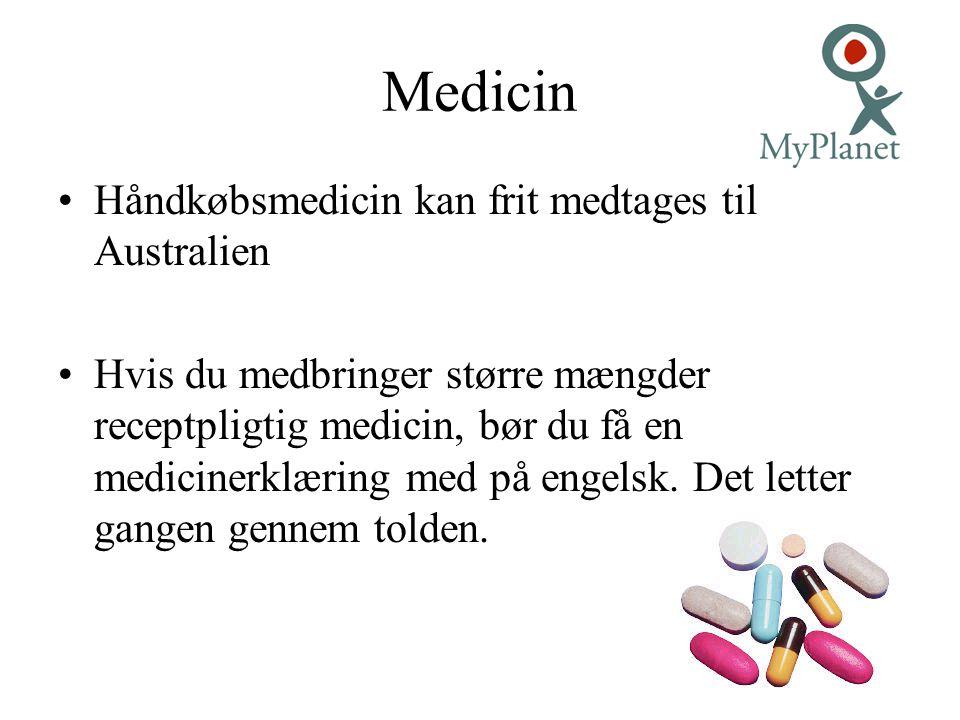 Medicin Håndkøbsmedicin kan frit medtages til Australien