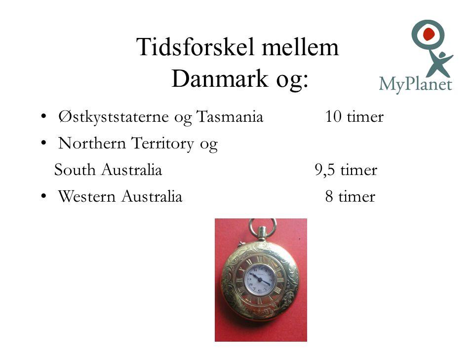 Tidsforskel mellem Danmark og: