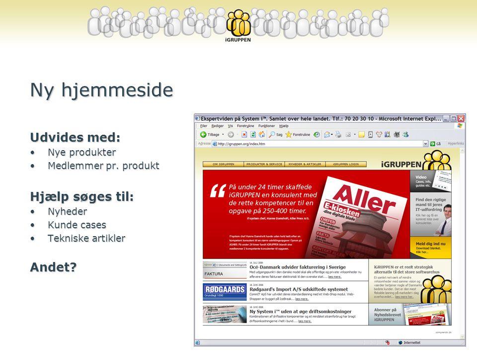 Ny hjemmeside Udvides med: Hjælp søges til: Andet Nye produkter