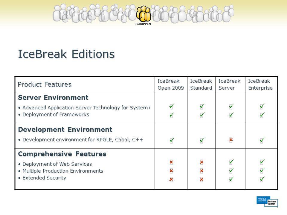 IceBreak Editions ü û Product Features Server Environment