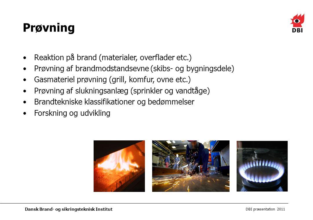 Prøvning Reaktion på brand (materialer, overflader etc.)