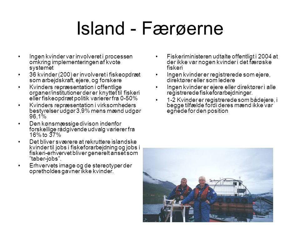 Island - Færøerne Ingen kvinder var involveret i processen omkring implementeringen af kvote systemet.