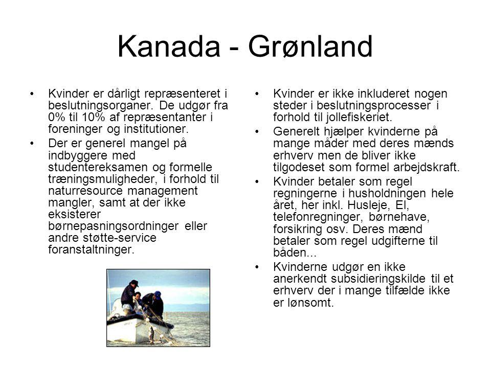 Kanada - Grønland Kvinder er dårligt repræsenteret i beslutningsorganer. De udgør fra 0% til 10% af repræsentanter i foreninger og institutioner.