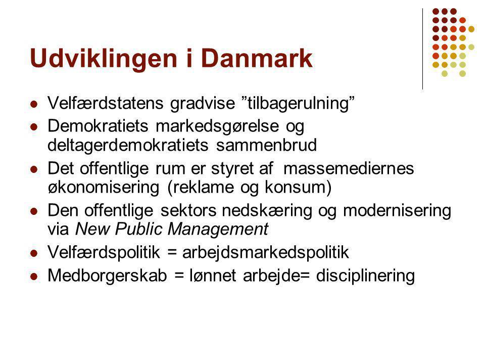 Udviklingen i Danmark Velfærdstatens gradvise tilbagerulning