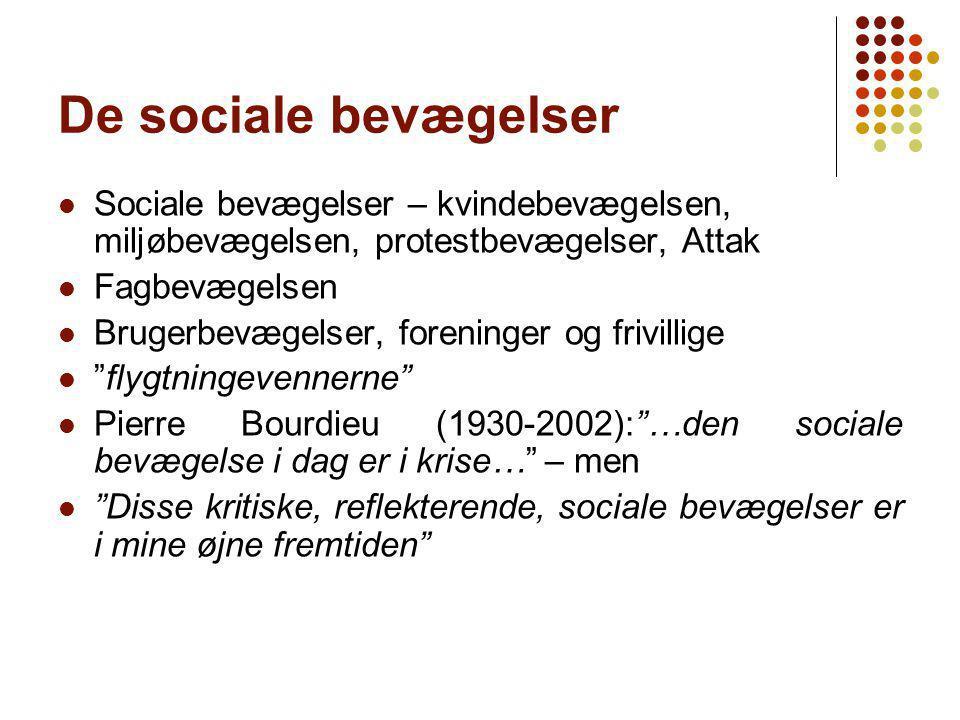 De sociale bevægelser Sociale bevægelser – kvindebevægelsen, miljøbevægelsen, protestbevægelser, Attak.
