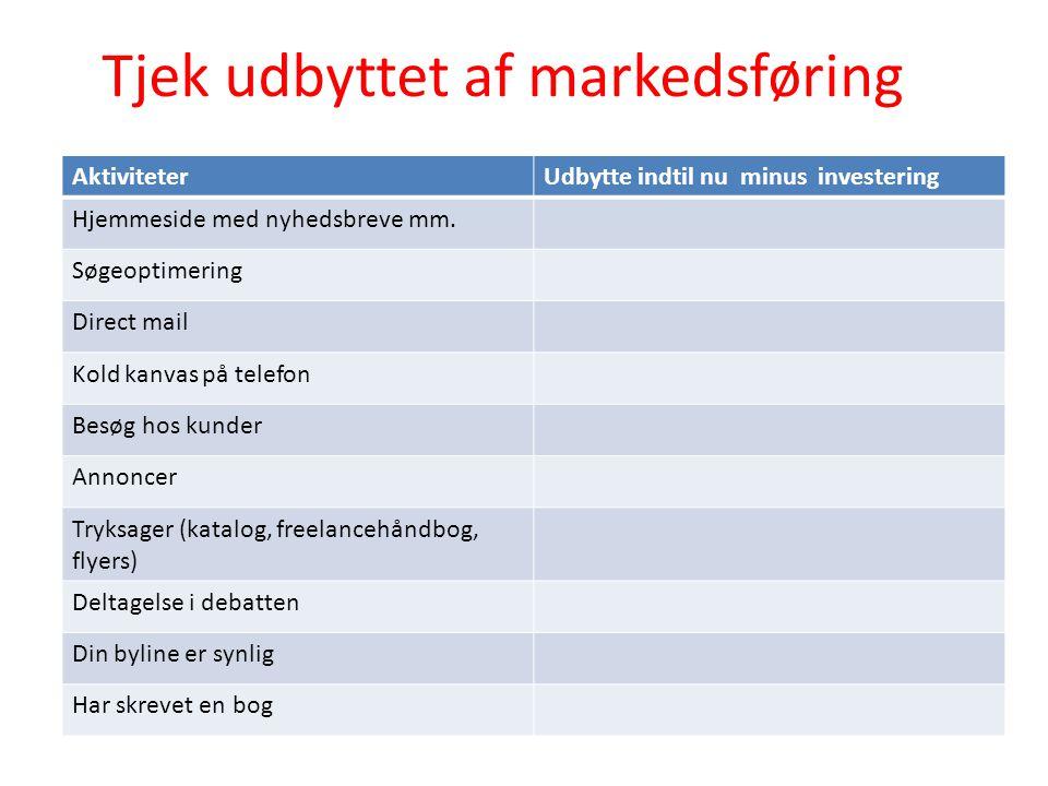 Tjek udbyttet af markedsføring