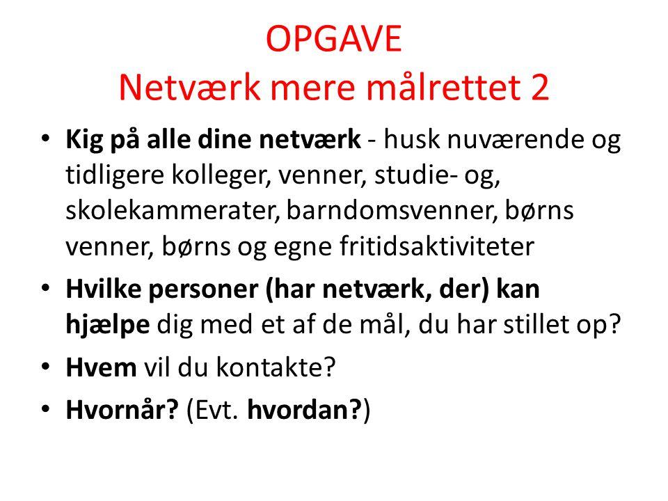 OPGAVE Netværk mere målrettet 2