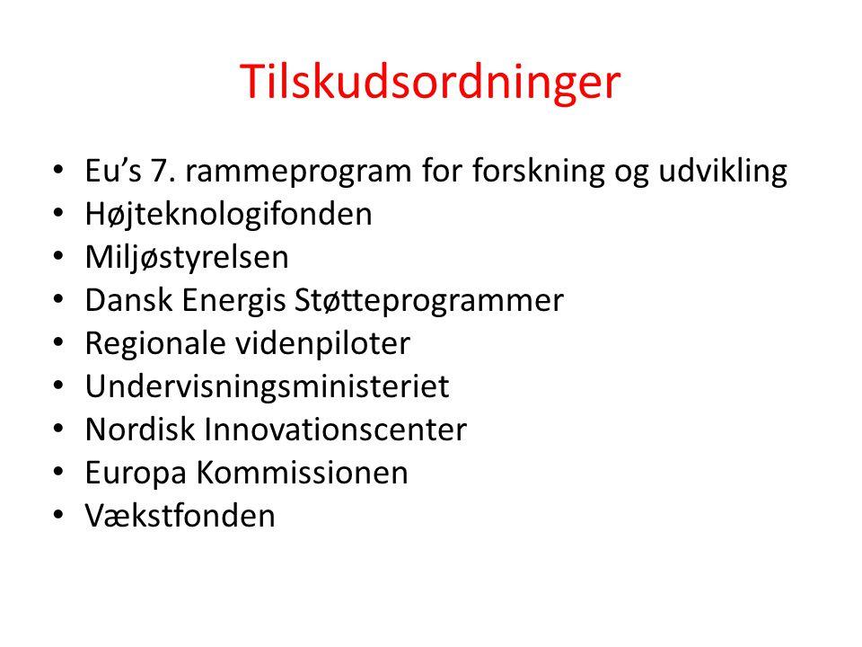 Tilskudsordninger Eu's 7. rammeprogram for forskning og udvikling