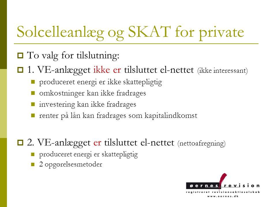 Solcelleanlæg og SKAT for private