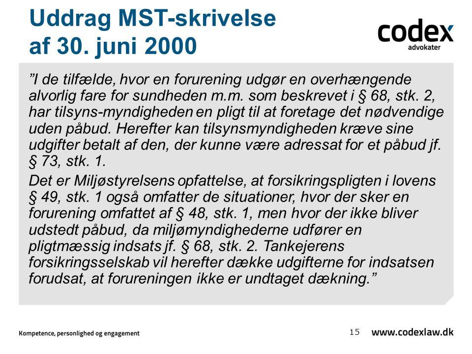 Uddrag MST-skrivelse af 30. juni 2000