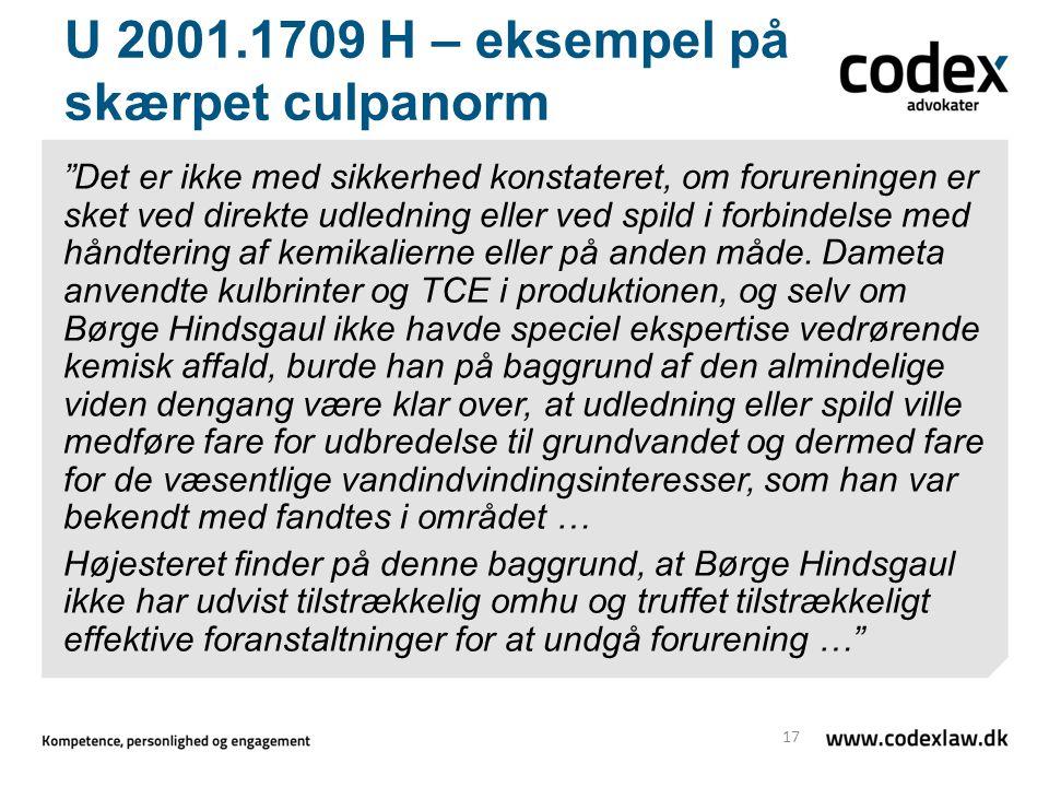U 2001.1709 H – eksempel på skærpet culpanorm