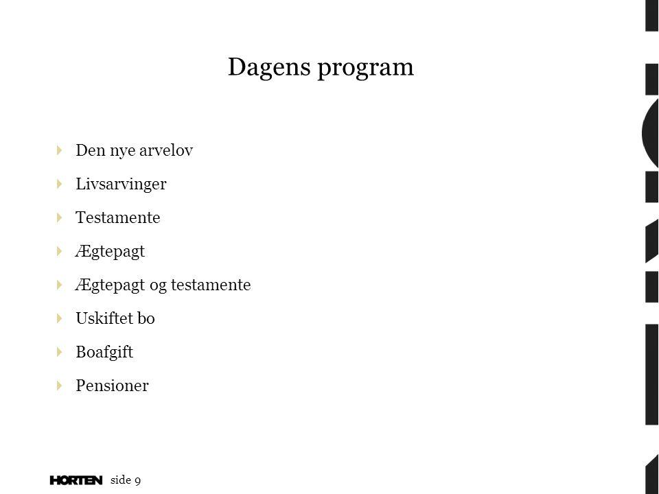 Dagens program Den nye arvelov Livsarvinger Testamente Ægtepagt