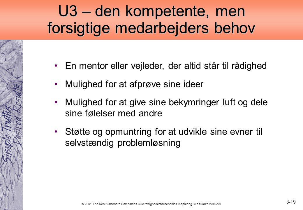 U3 – den kompetente, men forsigtige medarbejders behov
