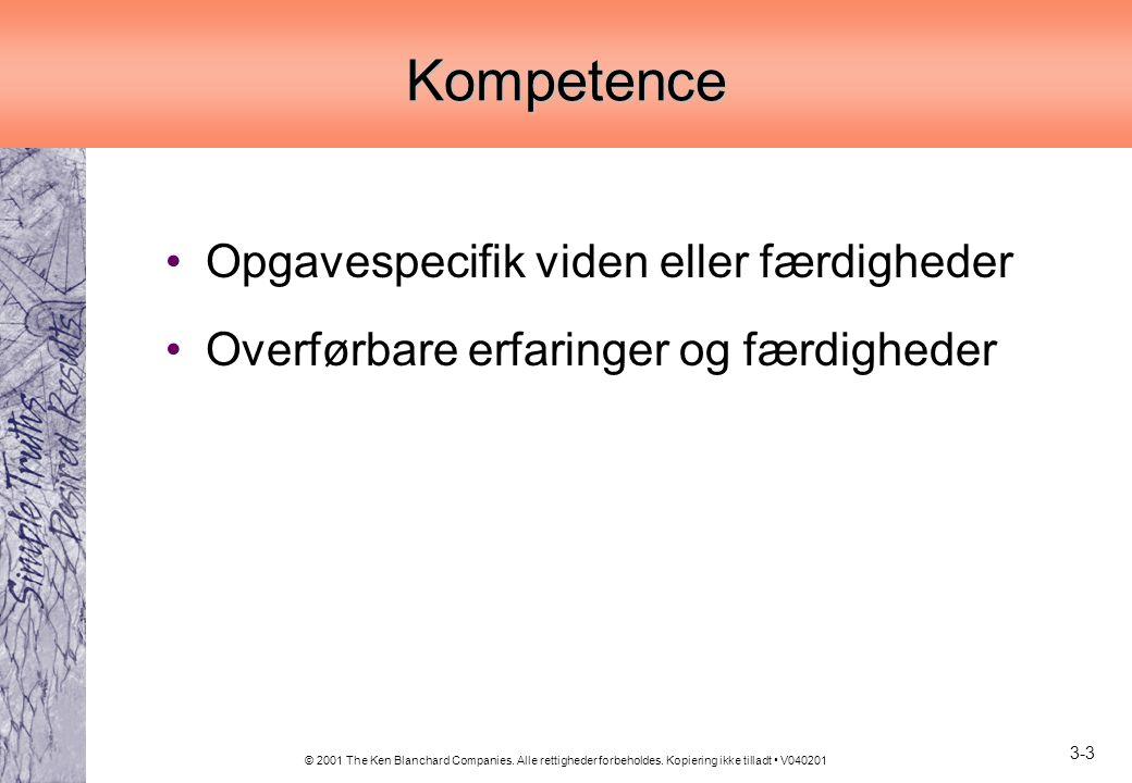 Kompetence Opgavespecifik viden eller færdigheder