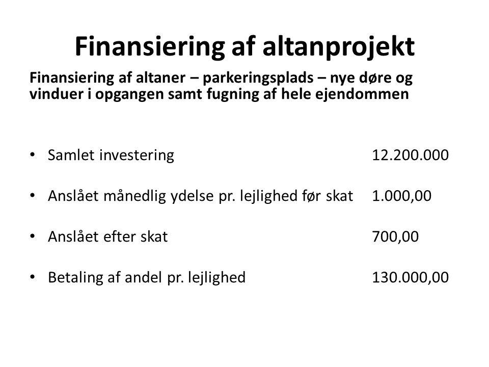 Finansiering af altanprojekt