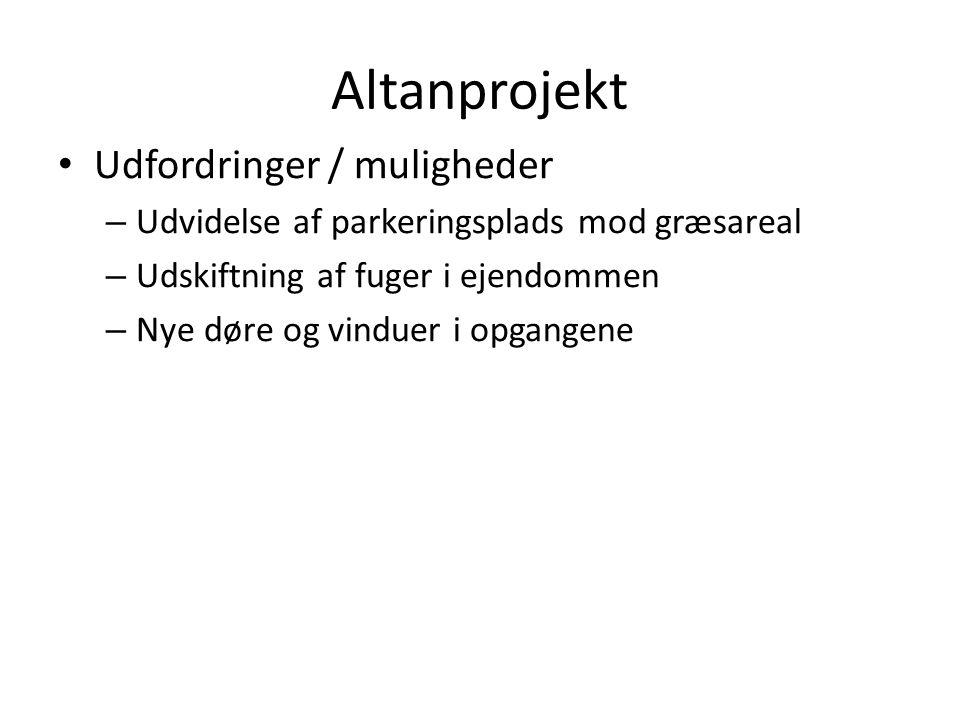 Altanprojekt Udfordringer / muligheder