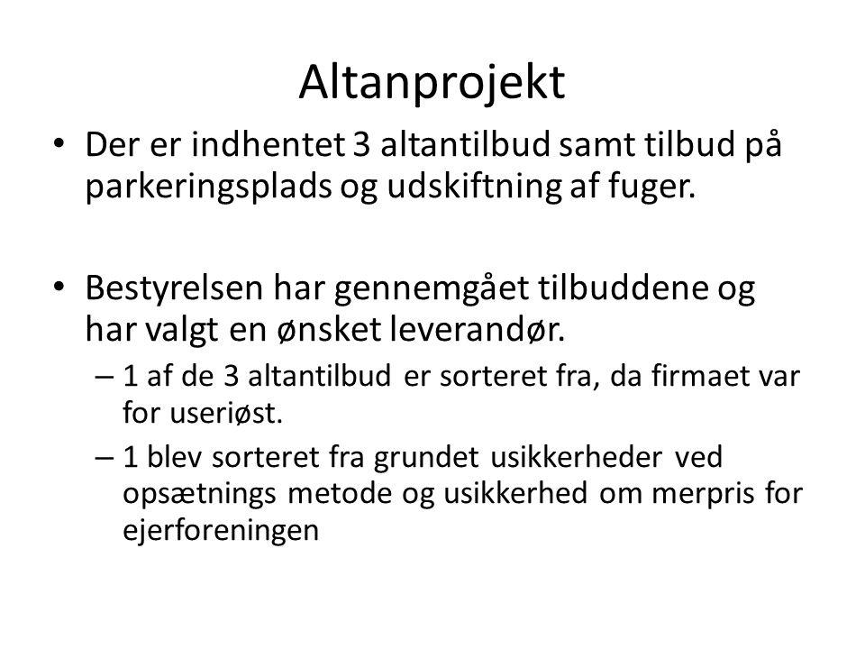 Altanprojekt Der er indhentet 3 altantilbud samt tilbud på parkeringsplads og udskiftning af fuger.