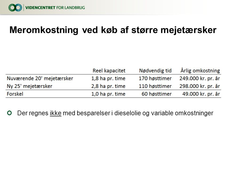 Meromkostning ved køb af større mejetærsker