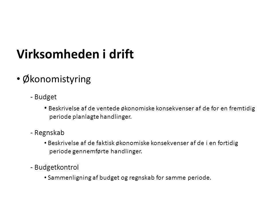 Virksomheden i drift Økonomistyring Budget