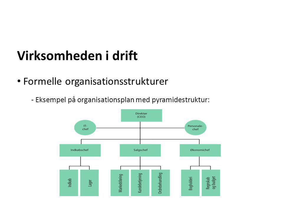 Virksomheden i drift Formelle organisationsstrukturer