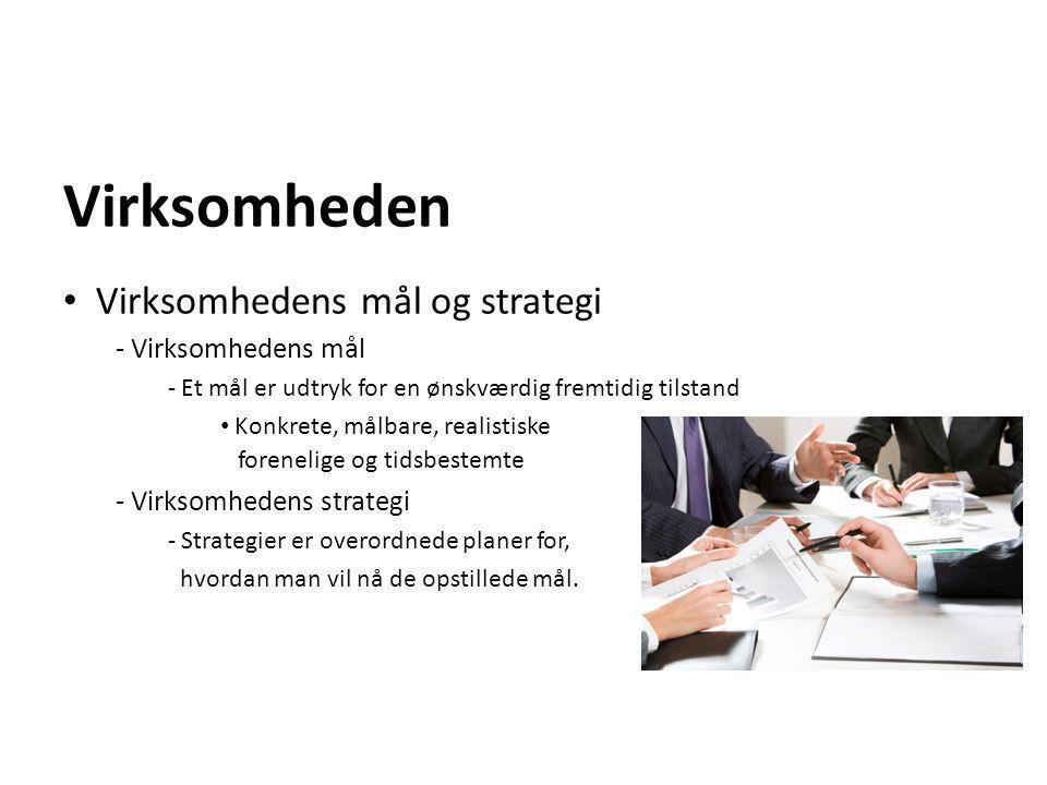 Virksomheden Virksomhedens mål og strategi Virksomhedens mål