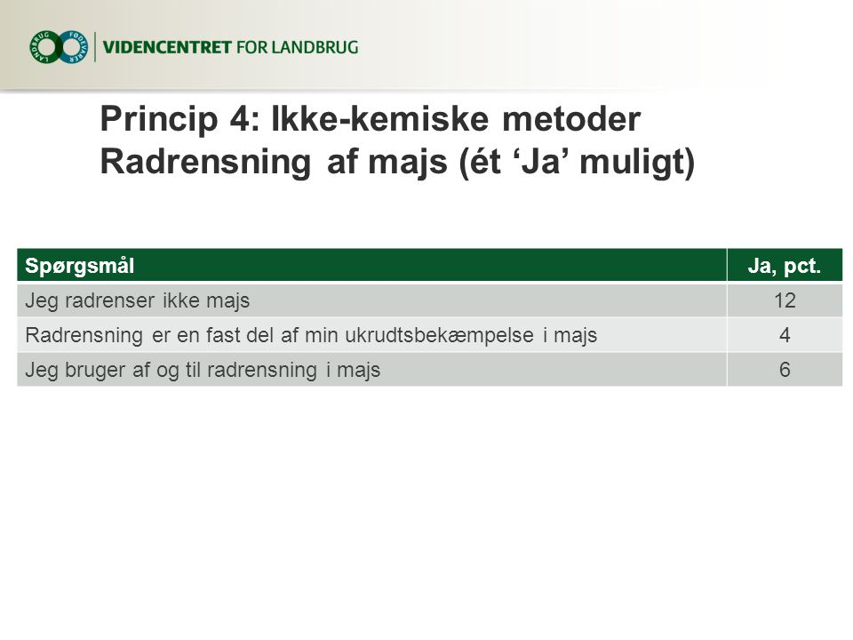 Princip 4: Ikke-kemiske metoder Radrensning af majs (ét 'Ja' muligt)