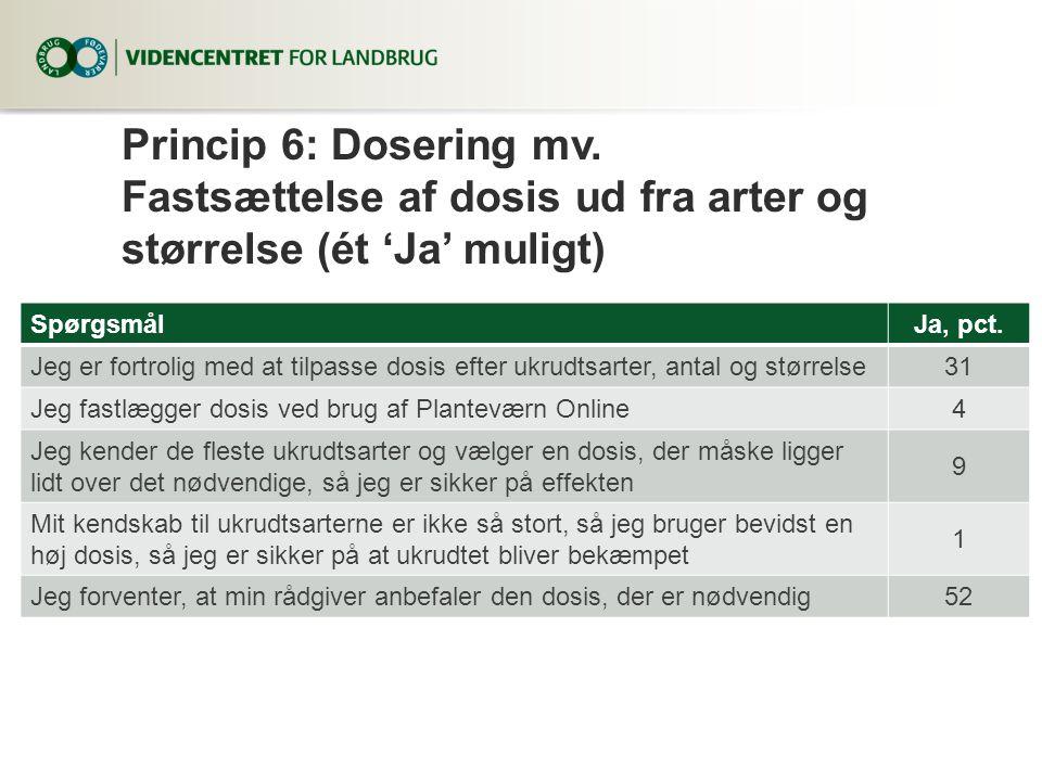 Princip 6: Dosering mv. Fastsættelse af dosis ud fra arter og størrelse (ét 'Ja' muligt)