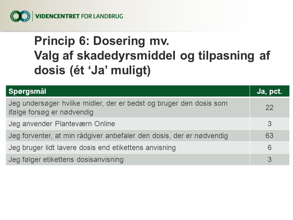 Princip 6: Dosering mv. Valg af skadedyrsmiddel og tilpasning af dosis (ét 'Ja' muligt)