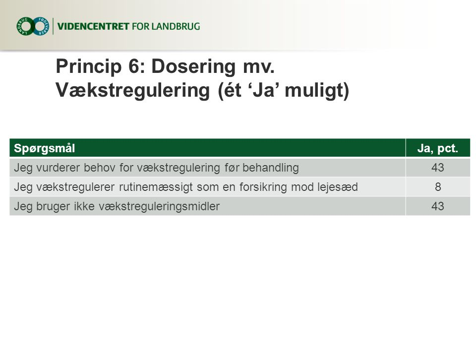 Princip 6: Dosering mv. Vækstregulering (ét 'Ja' muligt)