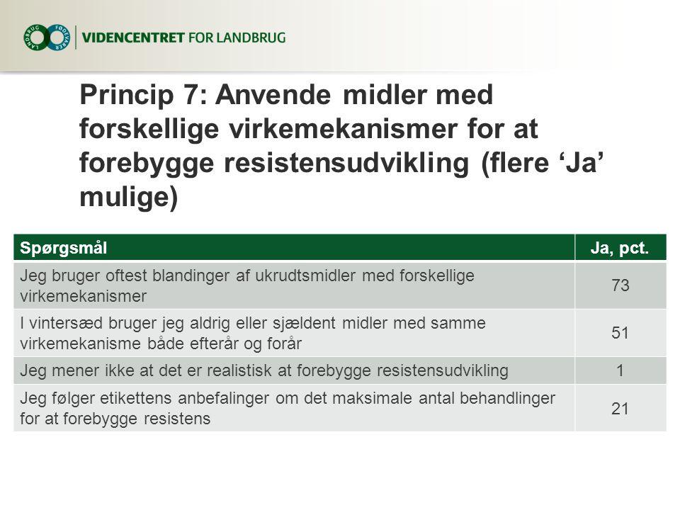 Princip 7: Anvende midler med forskellige virkemekanismer for at forebygge resistensudvikling (flere 'Ja' mulige)