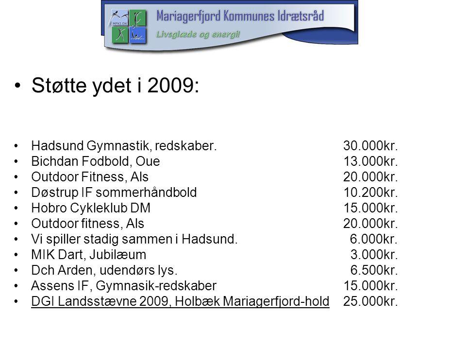 Støtte ydet i 2009: Hadsund Gymnastik, redskaber. 30.000kr.