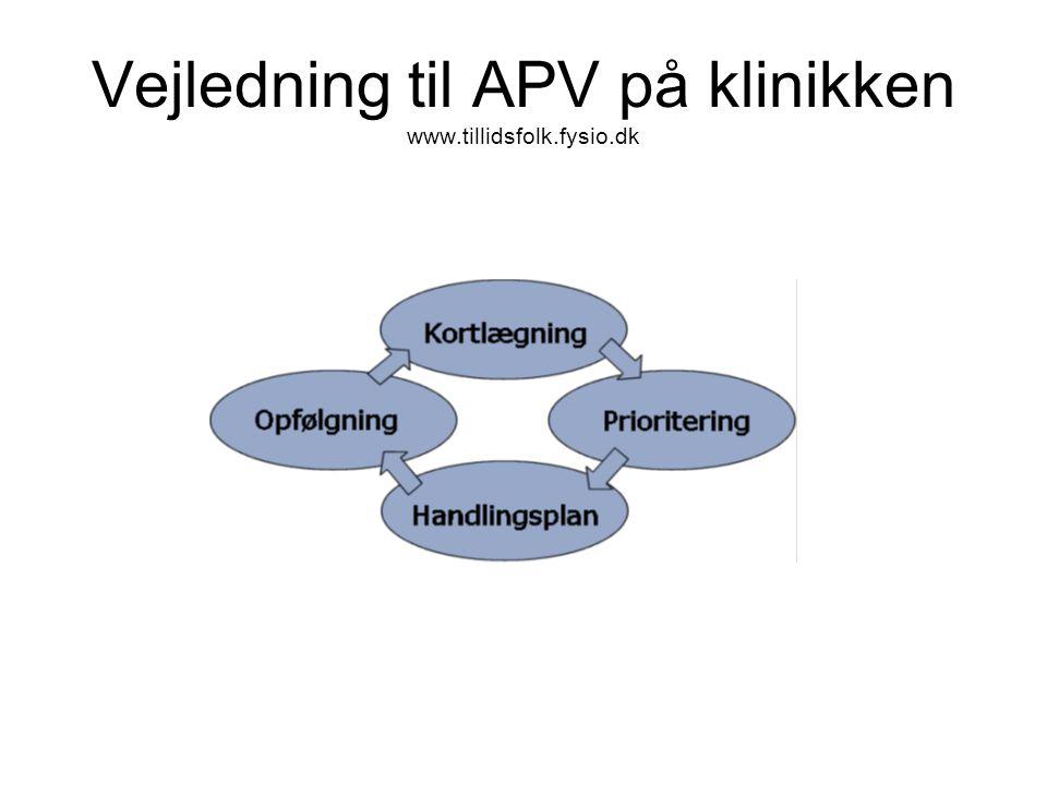 Vejledning til APV på klinikken www.tillidsfolk.fysio.dk
