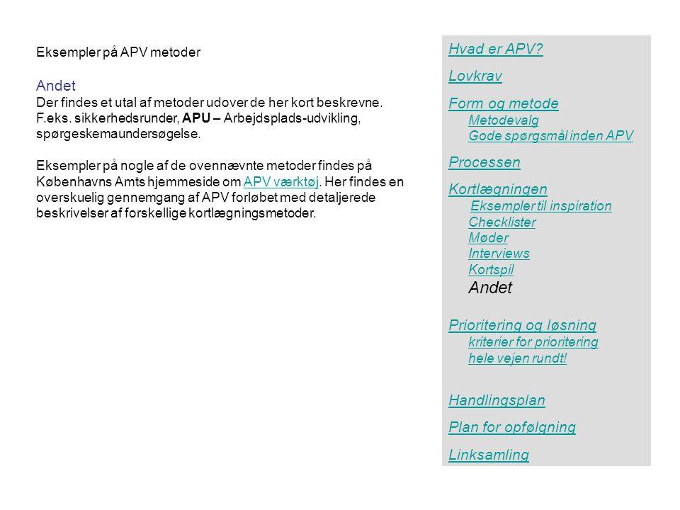 Andet Hvad er APV Lovkrav Andet Form og metode Processen