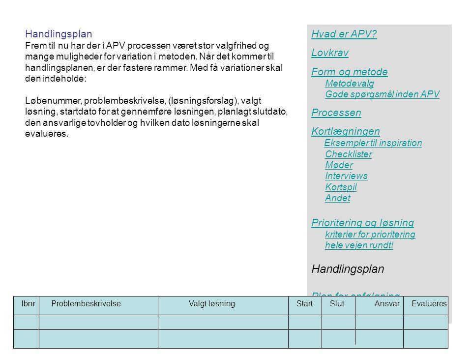 Handlingsplan Handlingsplan Hvad er APV Lovkrav Form og metode