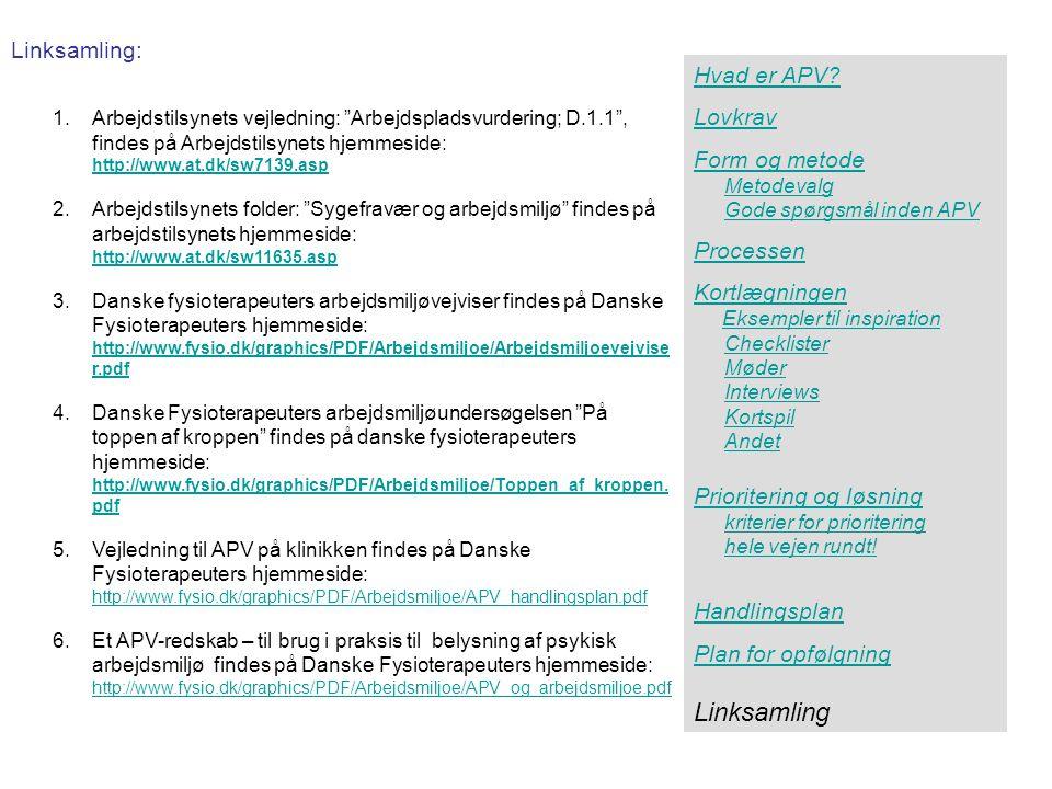 Linksamling Linksamling: Hvad er APV Lovkrav Form og metode Processen